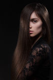 Pretty woman with long straight hair Royalty Free Stock Photo