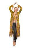 Pretty woman in long yellow jacket isolated on Royalty Free Stock Photography
