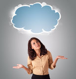 Pretty woman looking abstract cloud copy space Stock Image