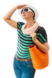 Pretty woman looking high summer clothing Royalty Free Stock Photography