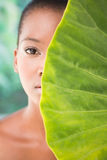 Pretty woman looking through leaves. Portrait of a pretty woman looking through leaves on a greenness background Royalty Free Stock Photography