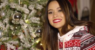Pretty woman with a lovely smile celebrating Xmas