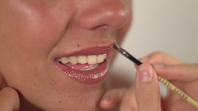 Pretty woman make-up stock video
