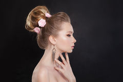 Pretty Woman. Makeup and Bridal Hairstyle with Rose Royalty Free Stock Photography