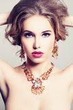 Pretty Woman. Makeup and Jewelry Stock Image