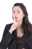 Pretty woman making silence sign Royalty Free Stock Photo