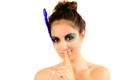 Pretty Woman Making Silence Sign Royalty Free Stock Images