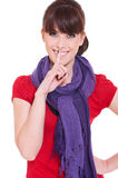 Pretty woman making silence sign Stock Image