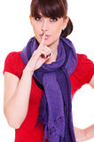Pretty woman making silence sign Stock Photos