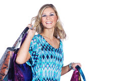 Pretty woman with many colorful shopping bags Stock Photography