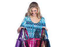 Pretty woman with many colorful shopping bags Royalty Free Stock Photos