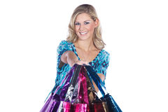 Pretty woman with many colorful shopping bags Royalty Free Stock Photo