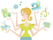 Pretty Woman with many hands and craft icons Stock Photography