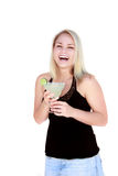 Pretty Woman with Margarita. Pretty young blond woman in party situation holding a margarita Royalty Free Stock Photos