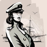 Pretty woman in marine officer uniform Royalty Free Stock Image