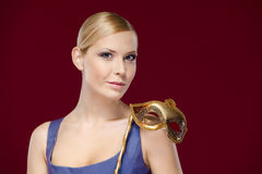 Pretty woman with masquerade mask Royalty Free Stock Photo