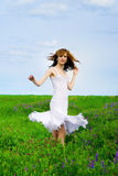 Pretty woman on a meadow Stock Image
