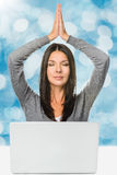 Pretty Woman Meditating In Front of Laptop computer Royalty Free Stock Photo