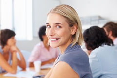 Pretty woman in meeting Stock Photo