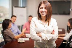 Pretty woman in a meeting room Royalty Free Stock Photos