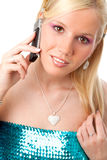 Pretty woman with mobile. Pretty young woman with mobile phone isolated over white background stock photography