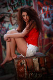 Pretty woman model in urban environment Royalty Free Stock Photography