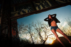 Pretty woman model in urban environment Stock Photos