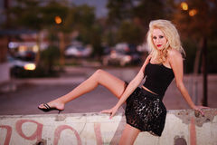 Pretty woman model in urban environment Royalty Free Stock Photos