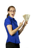 Pretty Woman With Money Fan. A pretty woman holding and pointing at a money fan Royalty Free Stock Photo