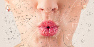 Pretty woman mouth blowing hand drawn icons and symbols Stock Photos