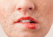 Pretty woman mouth blowing hand drawn icons and symbols Stock Image