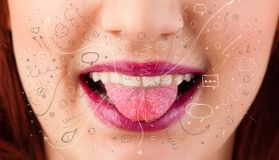 Pretty woman mouth blowing hand drawn icons and symbols Royalty Free Stock Photo