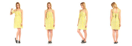 Pretty Woman n dress front, back, side view, isolated. Set Stock Photo
