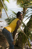 Pretty woman native nicaragua portrait with palm Royalty Free Stock Photos
