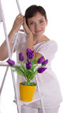 Pretty woman near ladder with tulips Royalty Free Stock Images