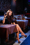 Pretty woman in nightclub Royalty Free Stock Images