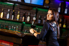 Pretty woman in nightclub Royalty Free Stock Photography
