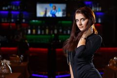 Pretty woman in nightclub Royalty Free Stock Photo