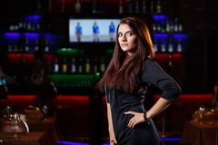 Pretty woman in nightclub Stock Photo