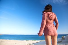 Pretty woman with ocean Stock Photography