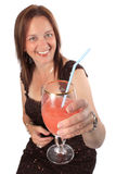 Pretty woman offering a drink, cheers Stock Image
