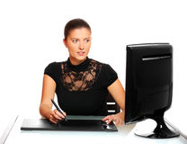 Pretty woman in the office Royalty Free Stock Image