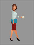 Pretty woman office work standing cup coffee folder. Vector illustration eps 10 Royalty Free Stock Photos