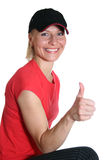 Pretty woman with OK finger Stock Image