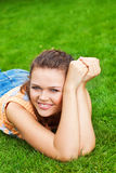 Pretty Woman On Grass Royalty Free Stock Photos