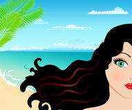 Pretty Woman On The Beach Royalty Free Stock Photos