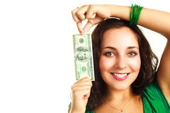 Pretty woman with one hundred dollars Stock Photos
