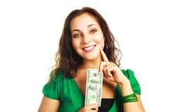 Pretty woman with one hundred dollars Stock Photo