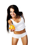 Pretty woman with orange Stock Images