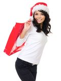 Pretty woman out doing Christmas shopping Royalty Free Stock Image